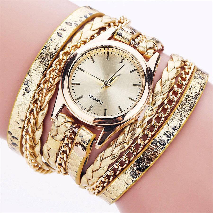 Relógio Feminino Pulseira Couro Dourada